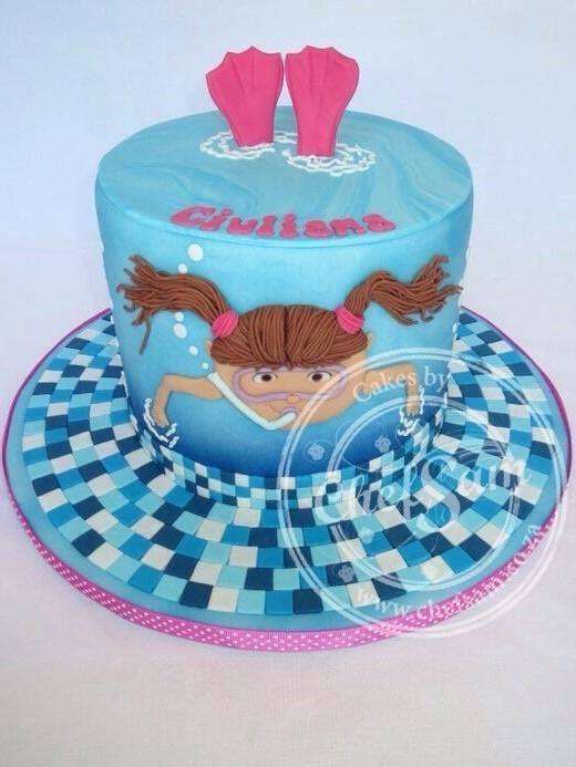 Astounding Swimming Cake Cake By Chefsam Marsepein Taart Taart Fondant Funny Birthday Cards Online Alyptdamsfinfo