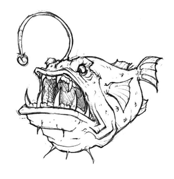Angry Angler Fish Coloring Pages Angry Angler Fish Coloring Pages Best Place To Color Fish Coloring Page Angler Fish Drawing Monster Coloring Pages