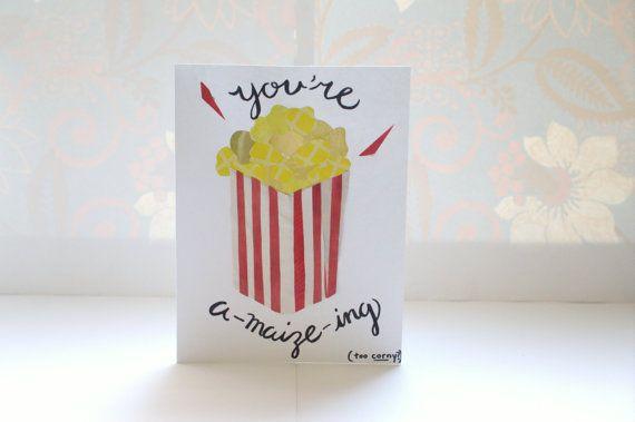 popcorn puns  printed collage greeting card