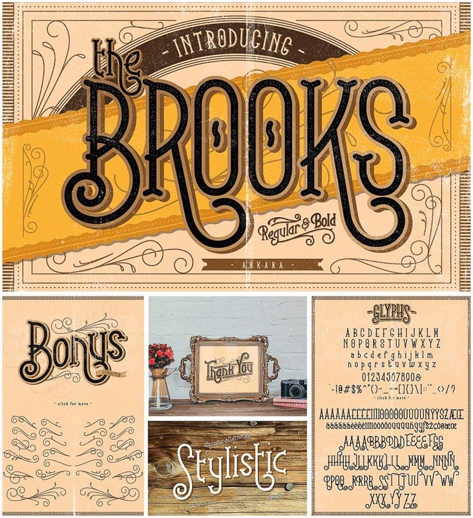 Brooks Font With Flourishes Free Download Free Script Fonts Vintage Fonts Lettering Fonts