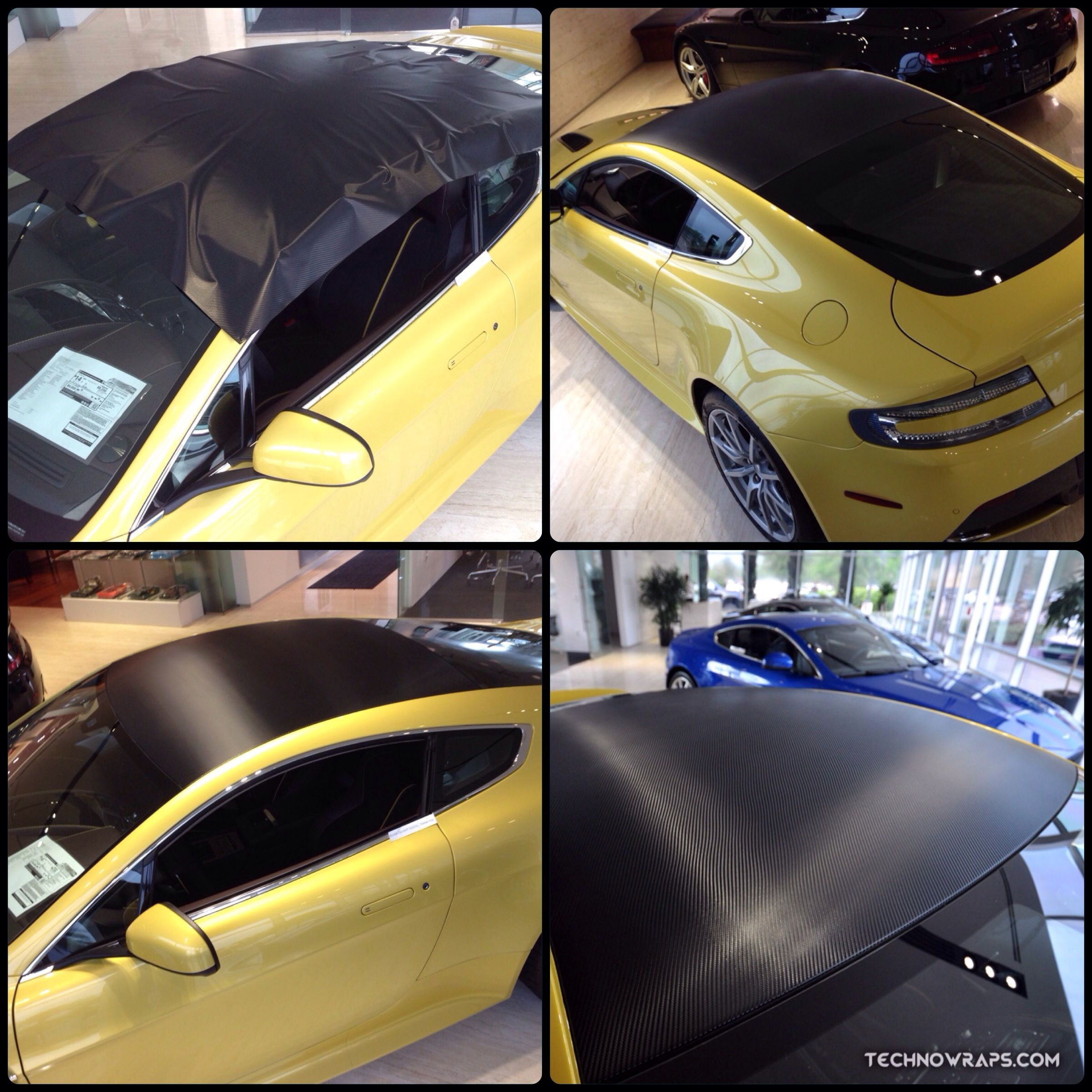 3m Series 1080 Black Carbon Fiber Roof Wrap On Aston Martin Car Installed By Technosigns In Orlando Florida Aston Martin Cars Car Wrap Carbon Fiber