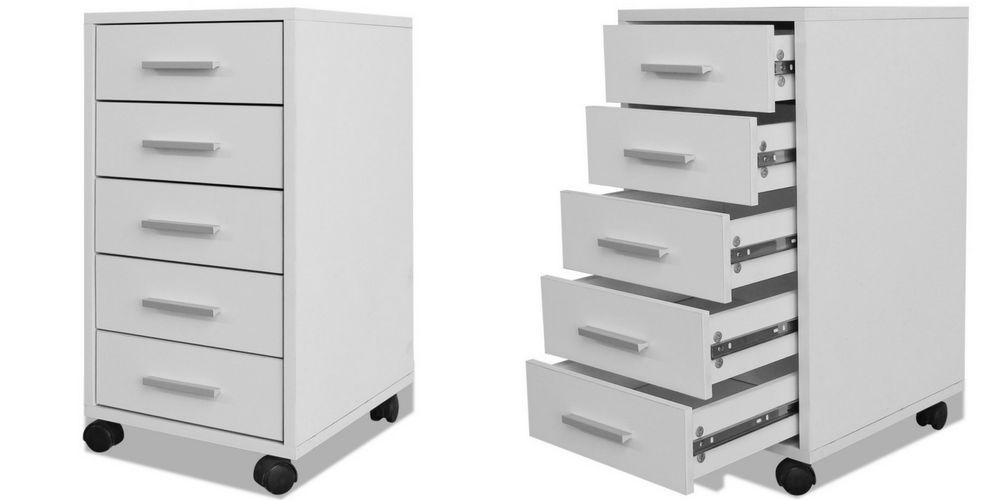 Stationary Storage Drawers Cabinet Wooden Office Paper Organiser Unit Wheels
