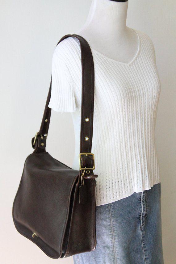 1724bfe6d3 COACH NYC Brown Stewardess Bag / Vintage Coach Large Mahogany Leather  Shoulder Bag Purse 9525 / Clas