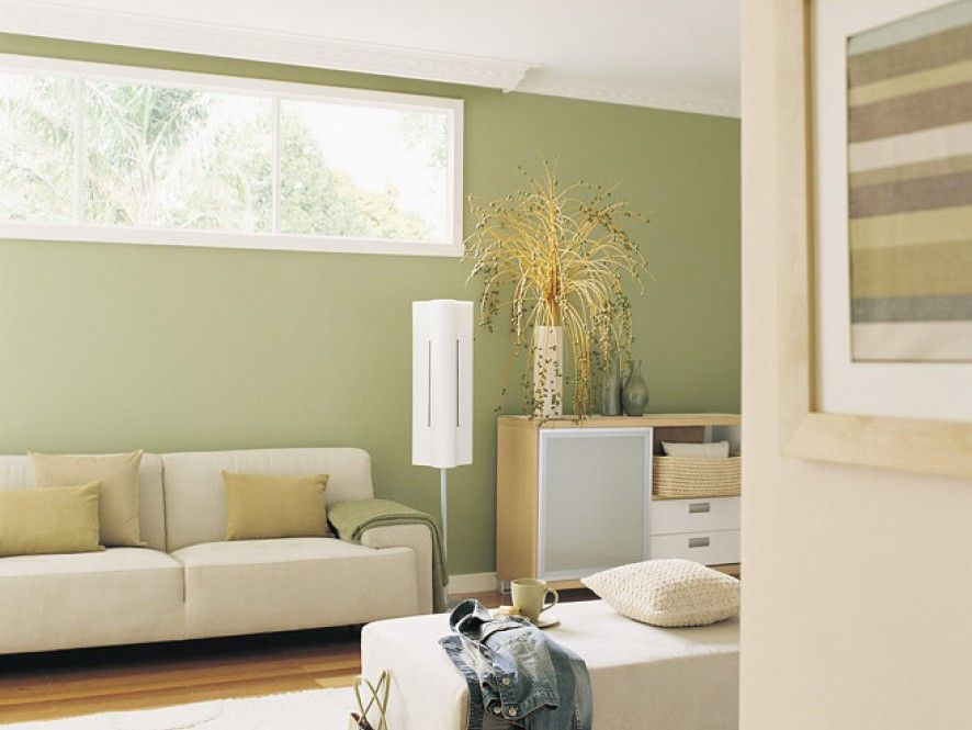 Harmonious And Tranquil The Subtle Green Used Here As A Feature Wall Helps To Provide Relaxing Living Area High Window Encourages Nature Natural