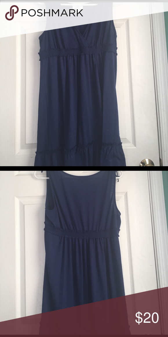 Used Loft Blue V-neck Short Sundress Large Dark blue, short sleeve with ties, smocked waist, ruffle trim bottom, v-neck, small first spot that can be washed out, size large. K LOFT Dresses Midi #shortsundress