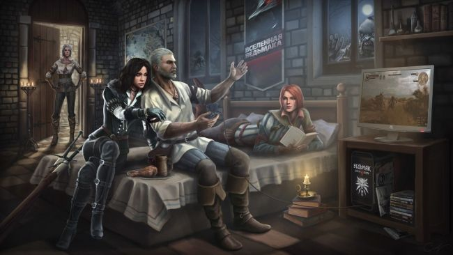 Download 1920x1080 Hd Wallpaper Geralt Yennefer Ciri Play