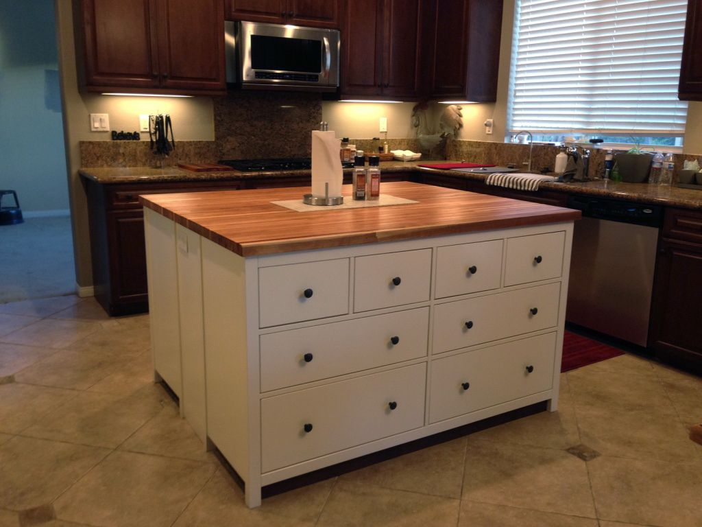 Kitchen island that we just made using Ikea 8 drawer ...