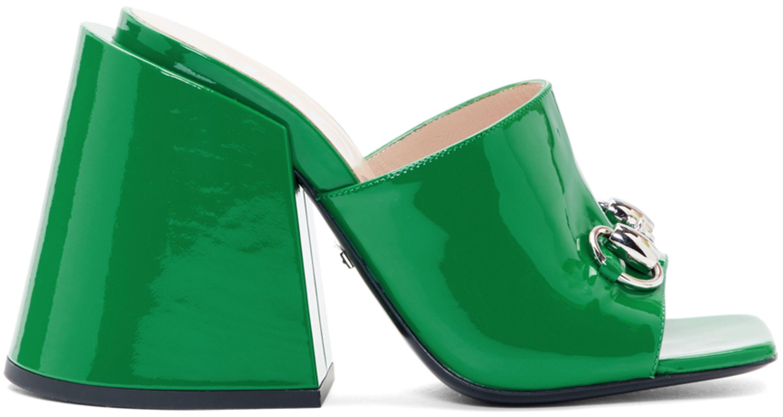 ef00112b30f Gucci Green Patent Lexi Horsebit Sandals in 2019