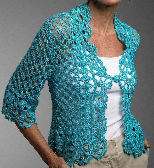 encantador-bolero-a-crochet-turquesa-3 | Patrones | Pinterest ...