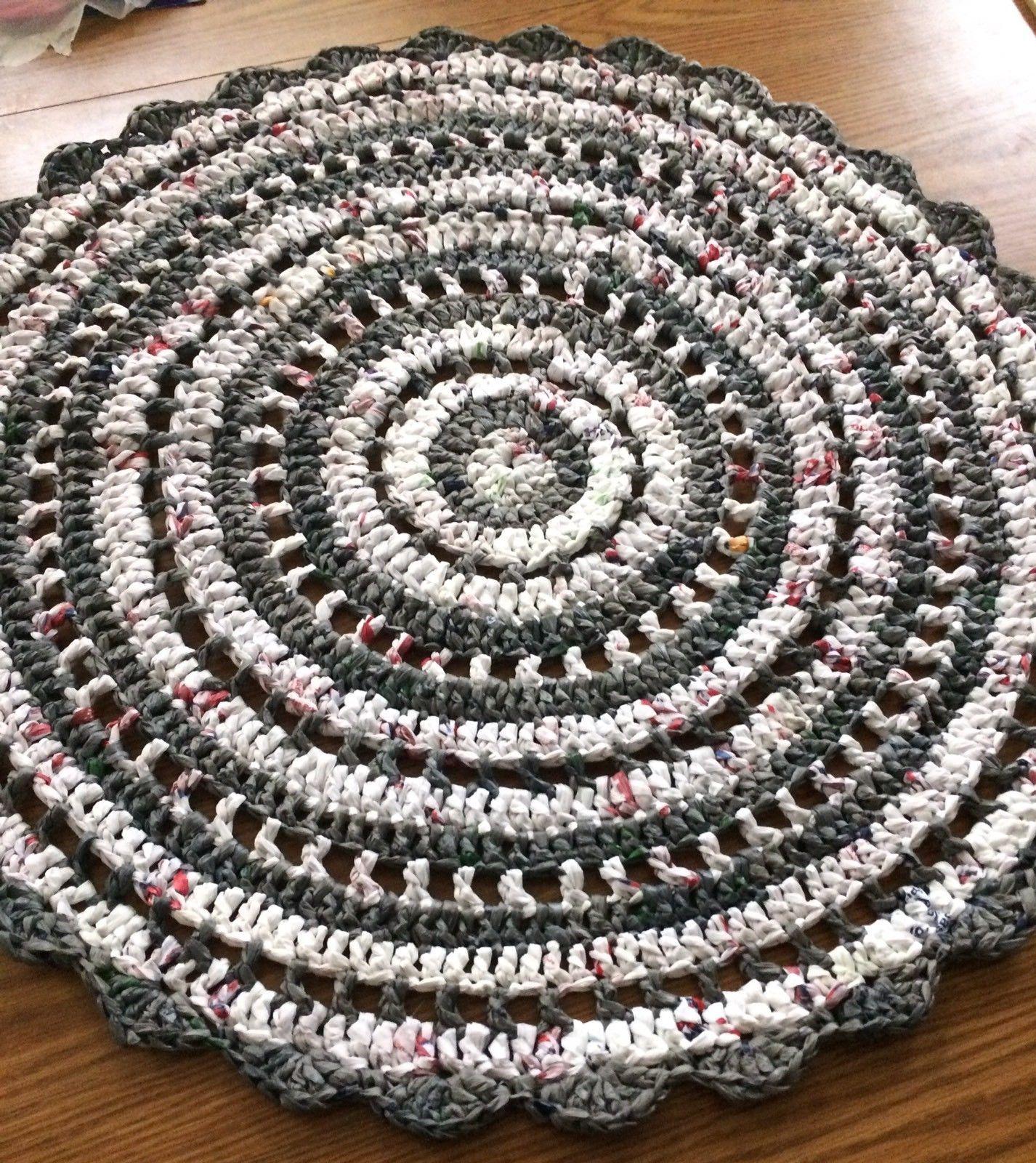 New Upcycled Recycled Plastic Plarn Crochet Round Rug Mat 30 Indoor Outdoor Plastic Bag Crochet Plastic Bag Crafts Crochet Round
