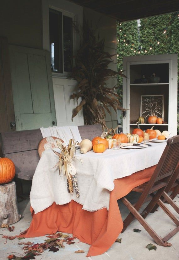 Halloween, Thanksgiving Tablecloths, Napkins, Fall Wedding, Overlays, Orange, Rust, Please choose size