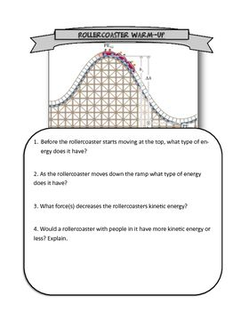 Roller Coaster Energy Warm Up | Physics | Pinterest | Gravitational ...