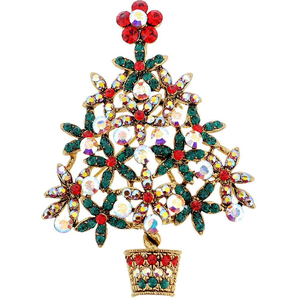 Multicolor Christmas Tree Flower Pot Swarovski Crystal Brooch and Pendant