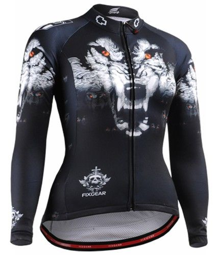 c3a9919cd Fixgear women s wolf Printed cycling wear Black long sleeve. size S