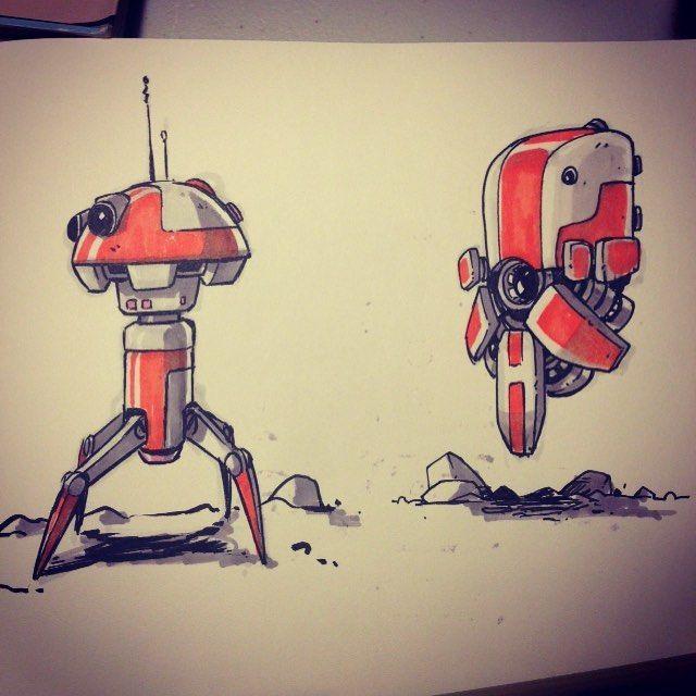 Sketchbooking! Practicing more tech robot ship stuff. #sketch #robot #ship #tech #prismacolor #winsorandnewton #sketchbook #dereklaufman