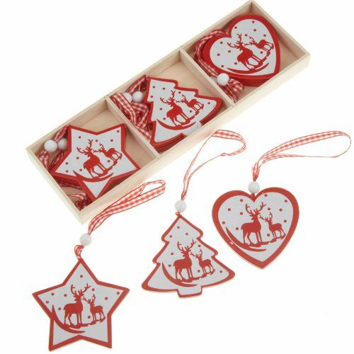 Wooden Hearts, Stars and Christmas Trees Red & White Nordic painted Christmas Tree Decorations ...