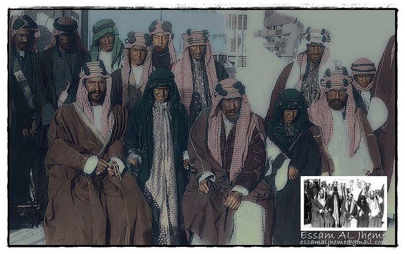 الملك عبد العزيز آل سعود بجانب الشيخ مبارك الصباح الكويت عام 1910 Rare Pictures Dream Home Design Ksa Saudi Arabia