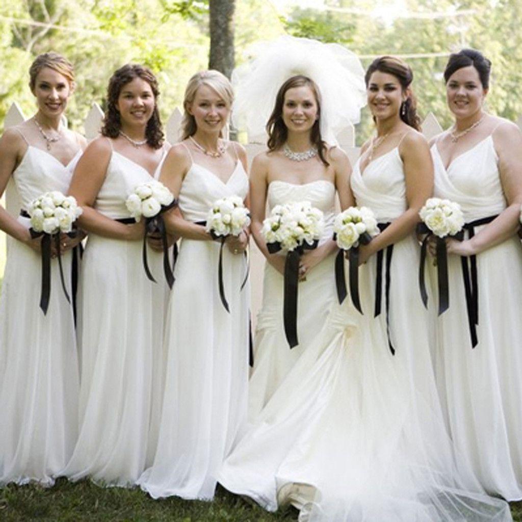 White Spaghetti Strap Cheap Long Bridesmaid Dresses, BG51270   Long ...