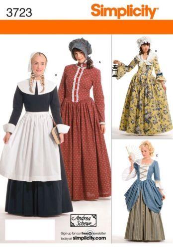 Simplicity 40 Pilgrim Colonial Dress Costume Pattern Colonial Gorgeous Colonial Dress Patterns