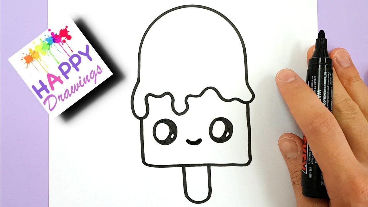 How To Draw A Cute Melting Ice Cream Step By Step Happy Drawings Youtube Happy Drawing Melting Ice Cream Cute Easy Drawings