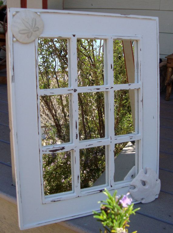 Cottage Chic Vintage Window Pane Mirror Painted By Cliccrow 95 00