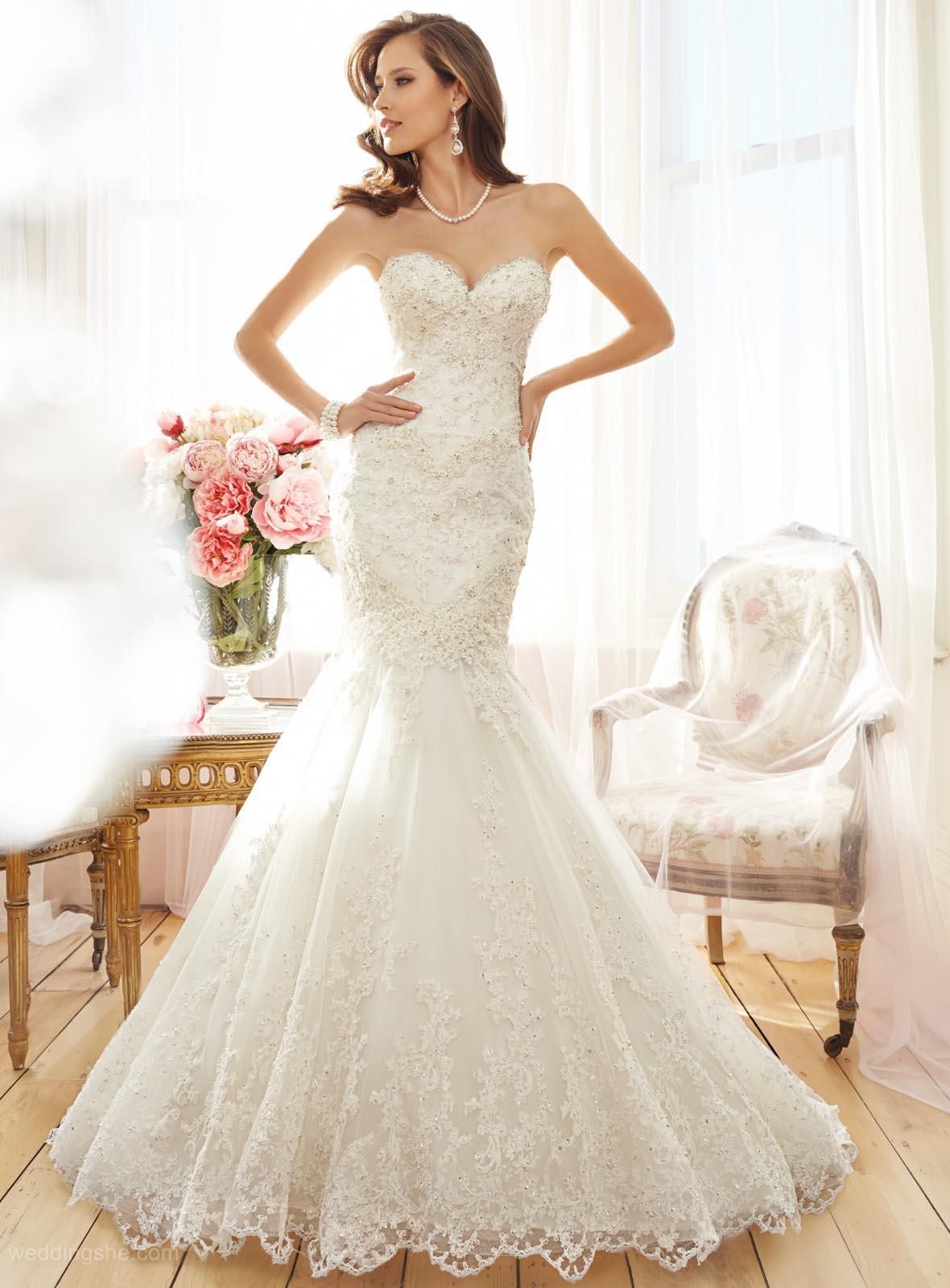 Elegant mermaid sweetheart appliques court wedding dresson sale with