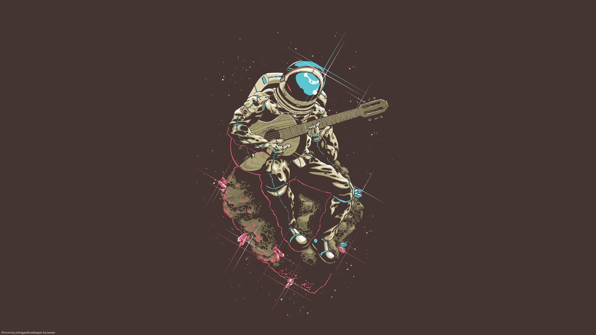 Astronaut Playing Guitar Art Illustration Art Pop Art