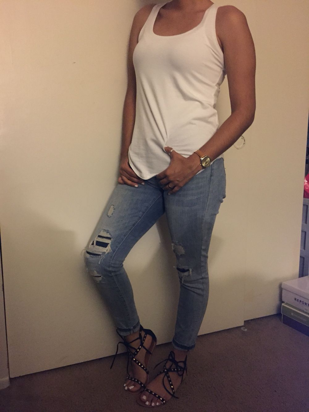 My style.  #jeans #whiteT #sandals