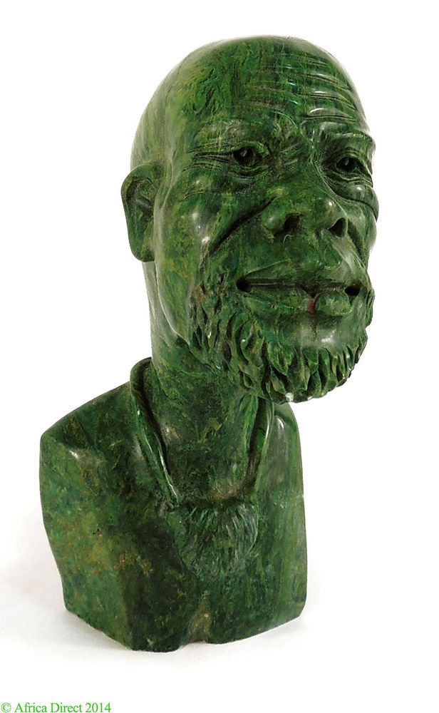 Verdite shona stone sculpture bust of man zimbabwe african