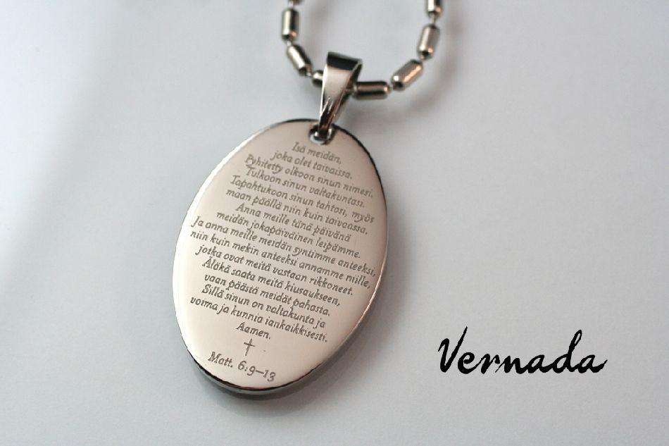 MyVernada -kuvariipus OVAALI, RUKOUS, 30x42mm, teräs, 2-puoleinen. Teetä oma kaiverrus kääntöpuolelle. Custom jewelry.  #kuvakoru #tekstikoru #teräskoru #Vernada