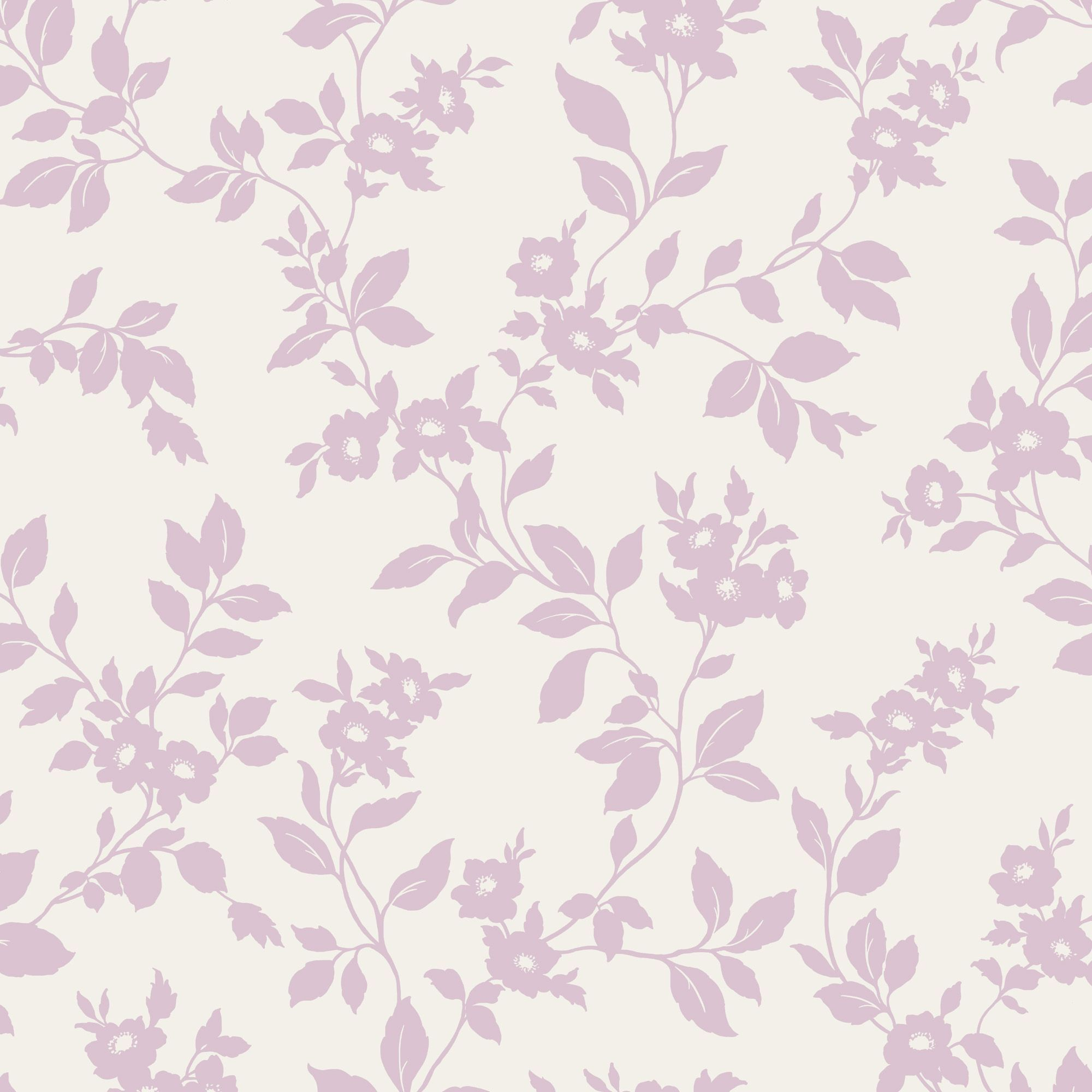 Colours Mayflower Pink White Floral Mica Effect Wallpaper White