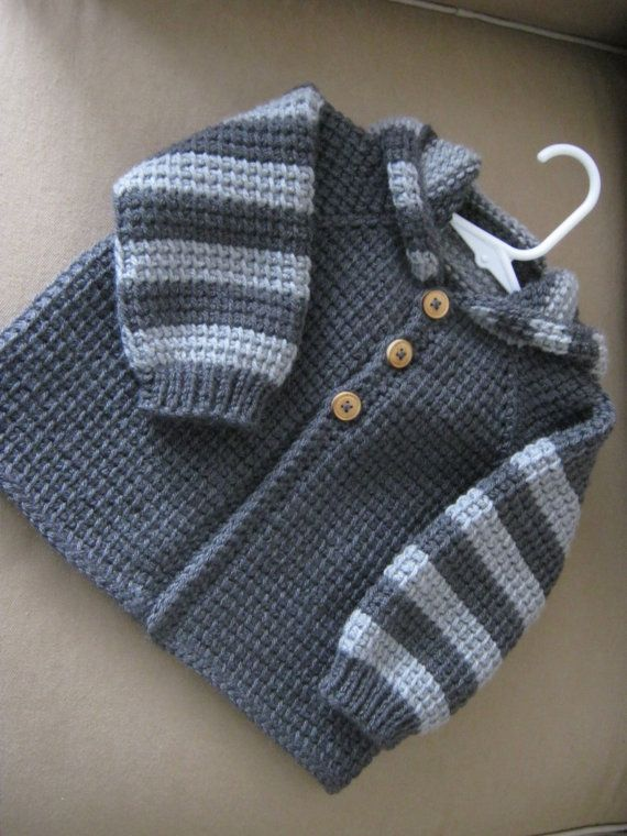 Chrochet Baby Boy Sweater with Hood , Dark Grey and Light Grey , MADE TO  ORDER