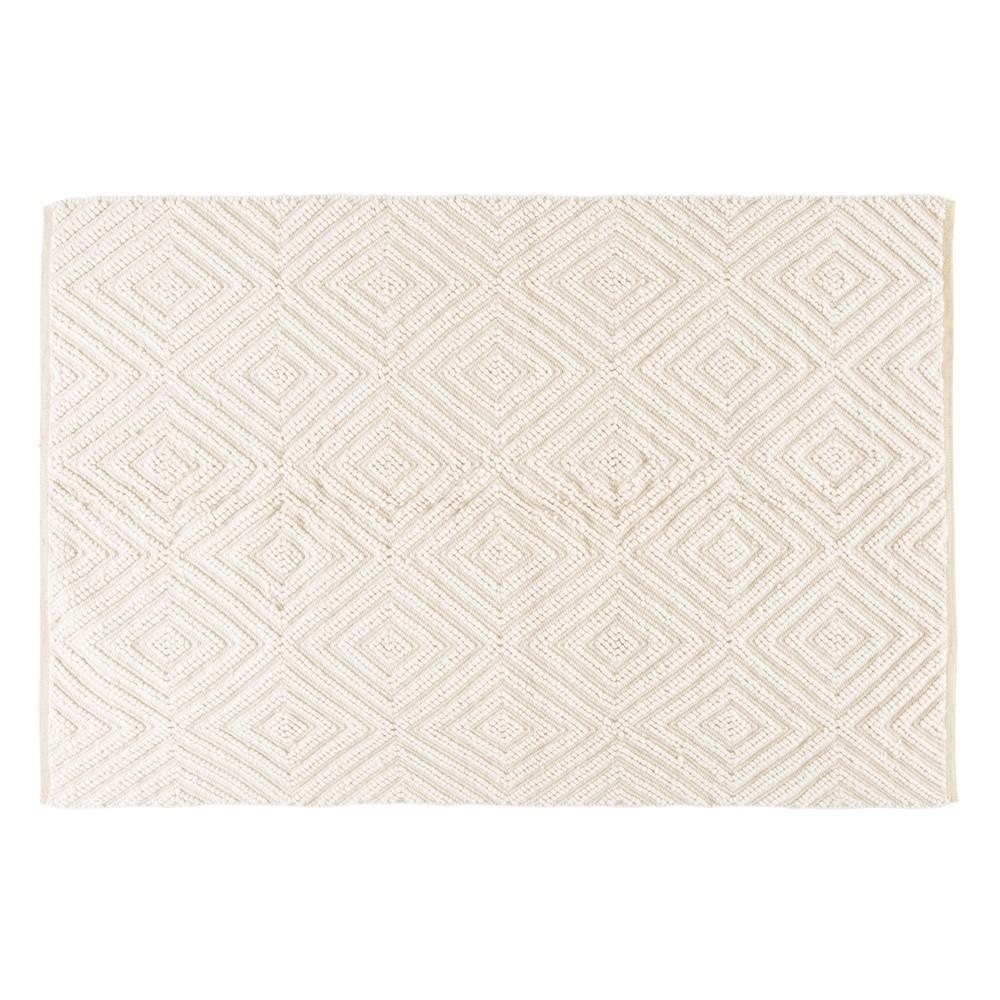Tapis en laine et coton écru motifs graphiques 140x200 | Meubles ...