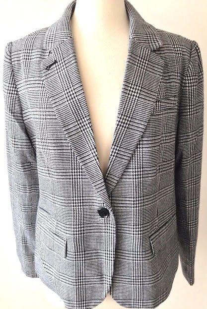 f080a6270 Merona Suit Blazer Jacket Size 16 Women's Houndstooth Black White ...