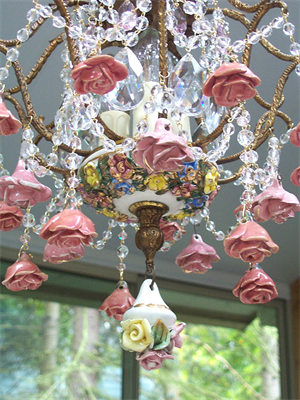 Vintage Chandeliers With Roses Capodimonte Porcelain Chandelier Sheris Crystal