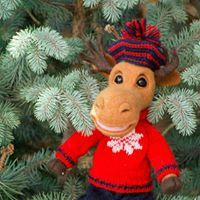 Felted moose handmade toy