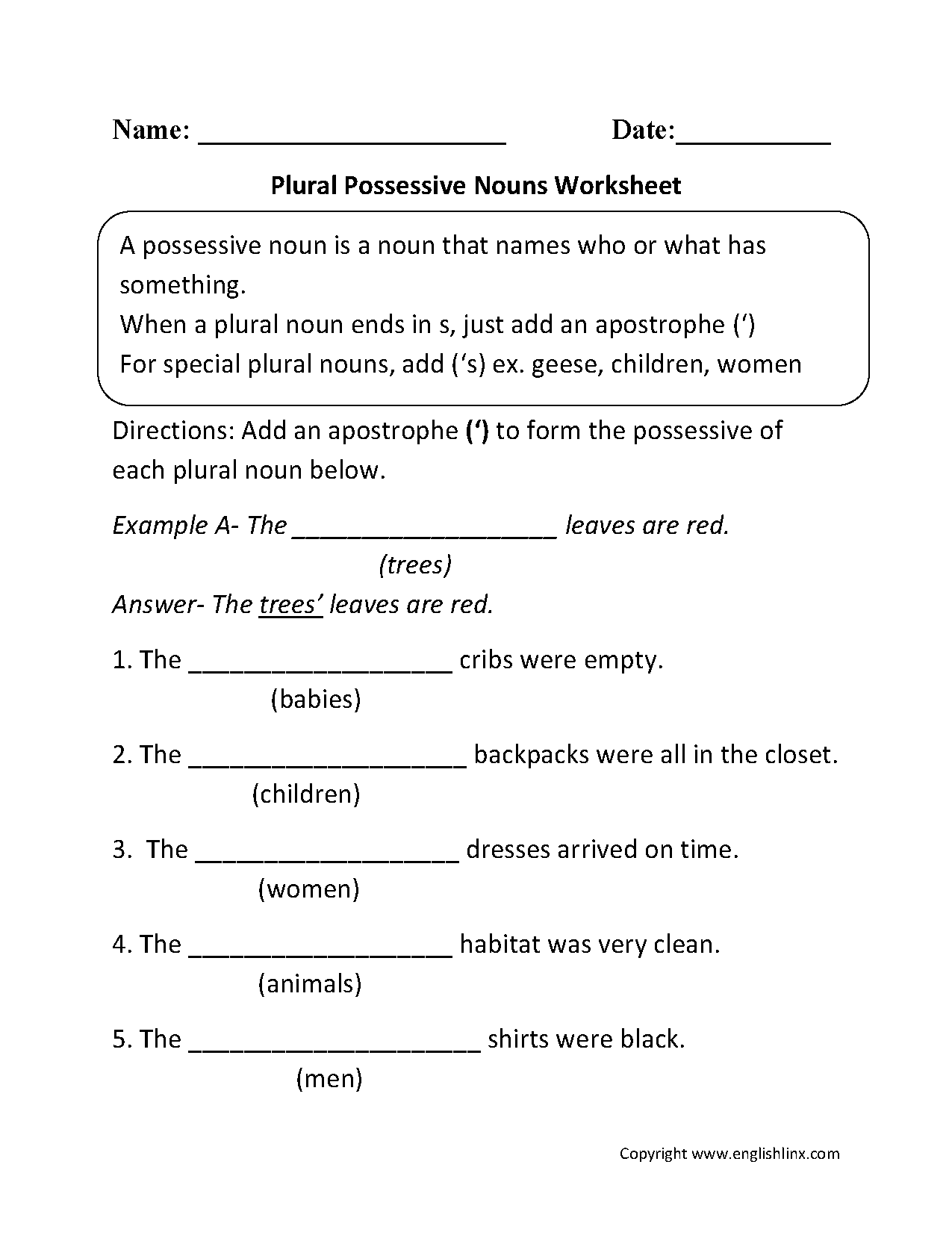 Plural Possessive Nouns Worksheets Pinteres