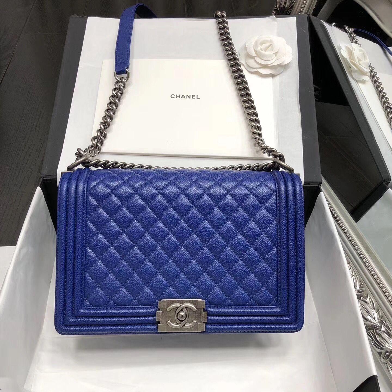 1666e607108887 Chanel New Medium Original Caviar Leather Le Boy Flap Bag 28cm Blue ...