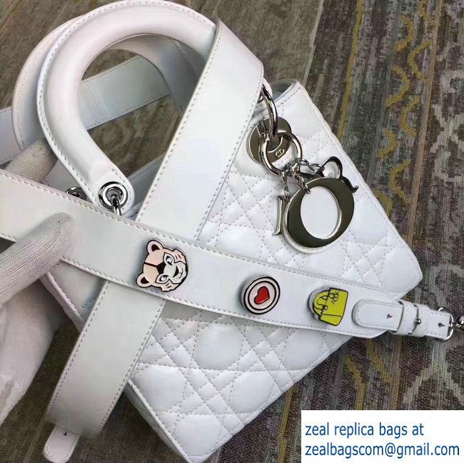Lady Dior Lambskin Bag White With Embroidered Lucky Badges Strap Cruise 2017