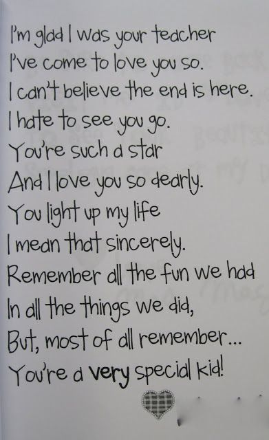 School Memory Book--poem to students from teacher for ...