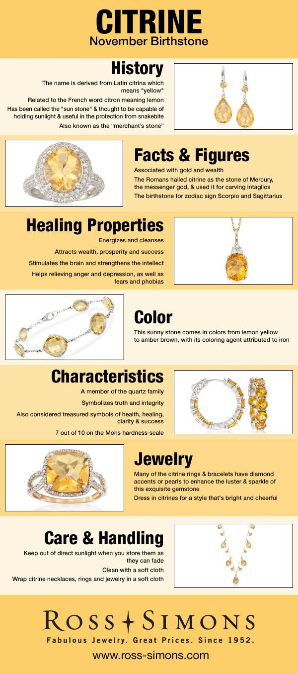 Learn about the history, facts, healing properties, color, characteristics and how to care for November's Birthstone, Citrine. #historyfacts
