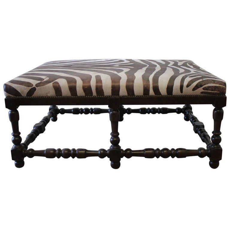 Sensational Custom Zebra Print Upholstered Hide Cocktail Ottoman For Machost Co Dining Chair Design Ideas Machostcouk