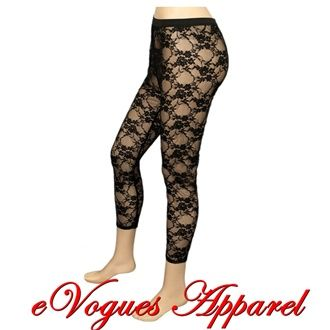 Plus Size Black Lace Leggings