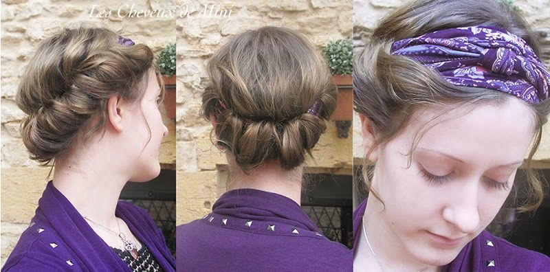tutoriel+coiffure+cheveux+mi+longs+épaules+heaband+foulard