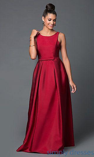 Floor-Length Satin Low-Back Prom Dress | Formal gowns, Scoop neck ...