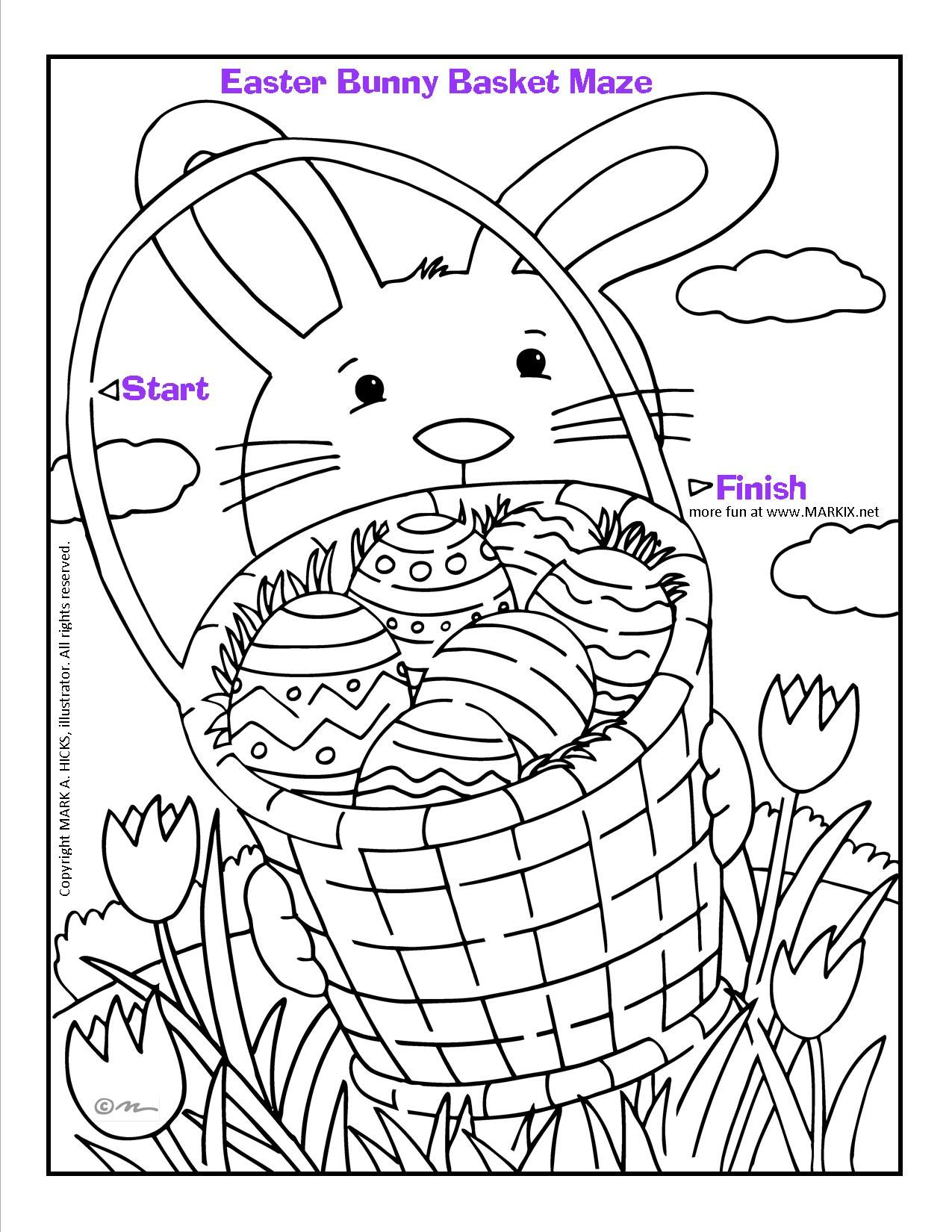 Easter Bunny Basket Maze and Coloring Page | Fun Printable Coloring ...