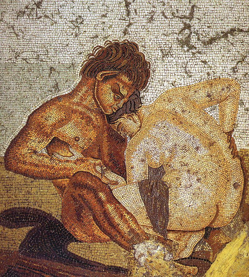pompeii casa del fauno satyr and nymph man