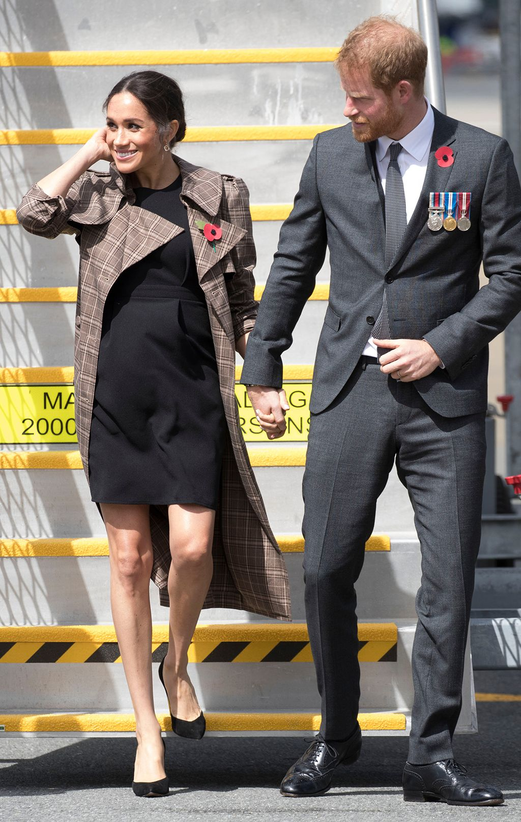 4eccb49c4 Prince Harry and Meghan Duchess of Sussex arriving in Wellington airport