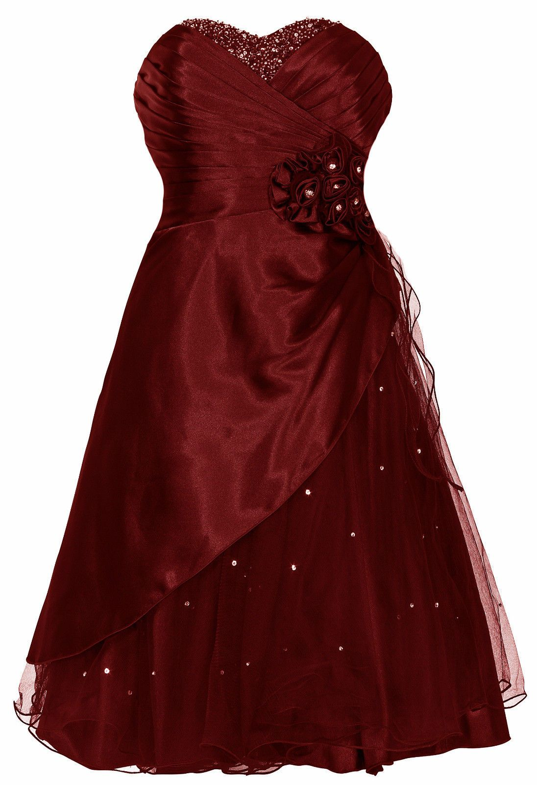 "ABENDKLEID BALLKLEID COCKTAILKLEID ""Mary"" Satin mit Tüll Perlen"