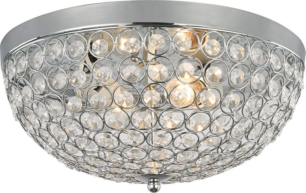 Hdc Eliptic 13 Inch Crystal Flushmount Ceiling Light Fixture In Polished Chrome Flush Mount Lighting Flushmount Ceiling Lights Lighting And Ceiling Fans